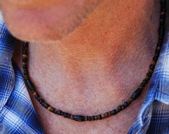 Tiger Blood - 20 In. Necklace - Sea Shell, Horn & Tiger Eye - SGArtCA - Handmade Gemstone Jewelry