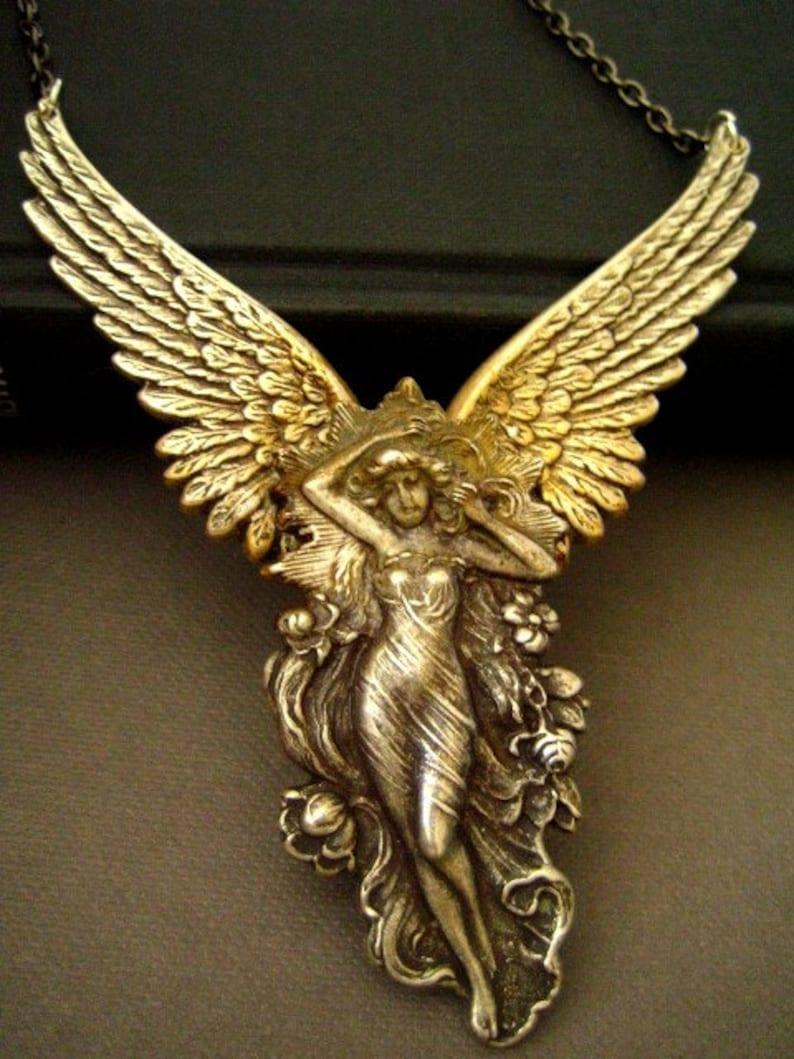 Vintage sterling silver plated brass art nouveau goddess necklace