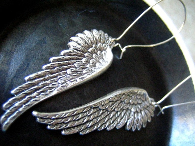 summersale Large Vintage sterling silver plated solid brass black angel wing earrings