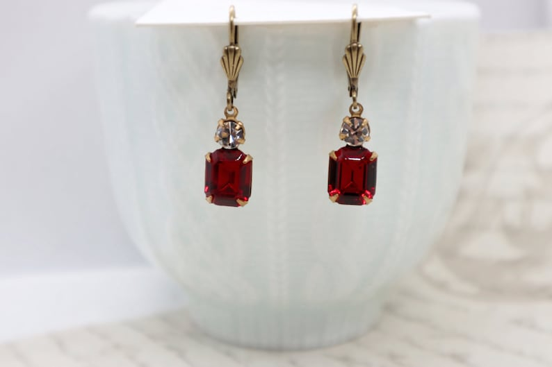 1c8b416874931 Swarovski Ruby Red Crystal Octagon Rhinestone & Clear Round Drops Earring