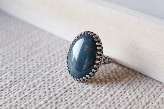 African Blood Stone Ring 25x18mm-Victorian ring-Aged brass-adjustable-steampunk-edgy chic