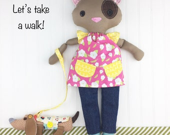 Cloth doll Cat and her doggy, cloth cat, stuffed animal, doll with clothing and accessories
