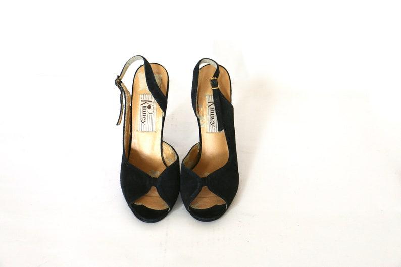 f5dfa82bf3a1d Vintage 1970s Shoes High Heels Peep Toe Peeptoe 70s Shoes 1980s Heels 80s  Heels Peep Toe Heels Black Shoes Suede Shoes