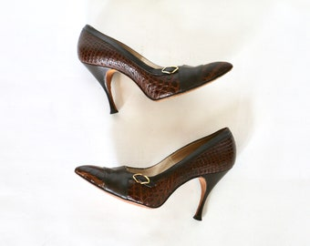 Vintage 1950s Shoes 50s Shoes 1950s Heels 50s Stiletto Heels Brown Shoes Spectator Faux Alligator Leather