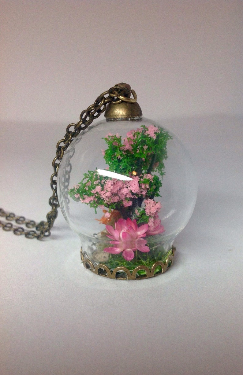Terrarium Necklace Sakura Tree In Glass Cherry Blossom Etsy