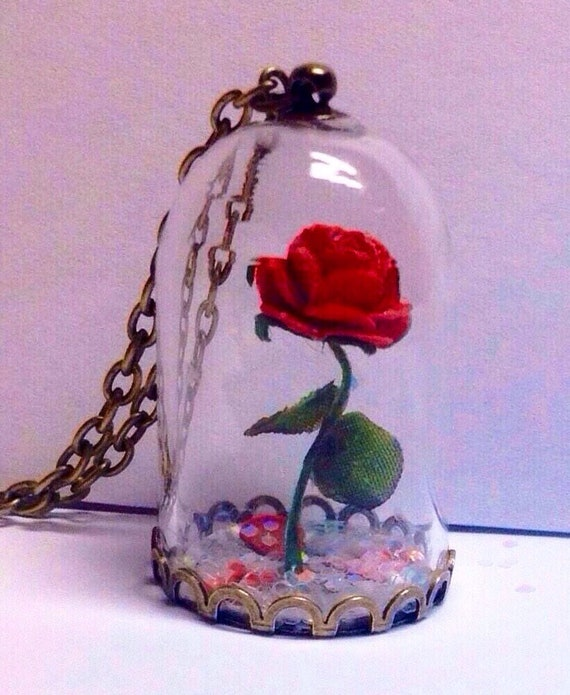22364b175e Red Rose/Enchanted Rose/Beauty and the Beast Rose/Bell Jar | Etsy