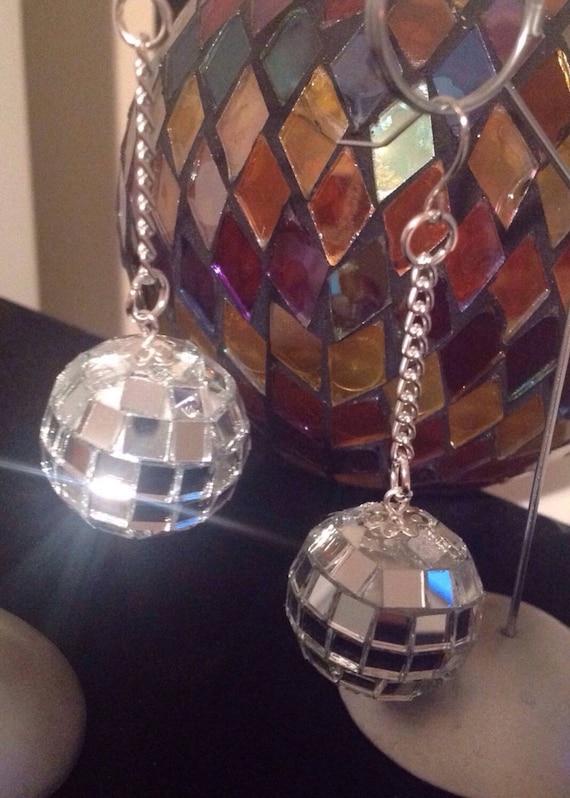 6 DISCO BALL REFLECTION KEY CHAIN novelty mirror balls refective keychain dance
