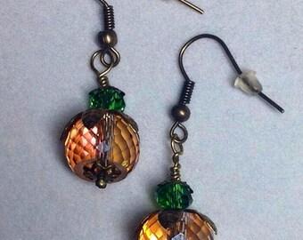 Autumn Earrings/Pumpkin Dangle/Autumn Fall Jewelry Fall Color Glass Bead -  Thanksgiving Earrings/Pumpkin Earrings