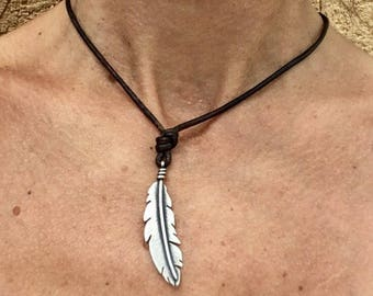 Feather & Leather Necklace