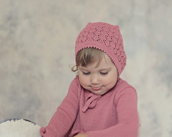 READY TO SHIP Knit Baby Lace Hat Size 6-9m/2T Blue and Pink Christening Baptism accessory Photo Prop Pixie Beanie Vintage look Chooose color