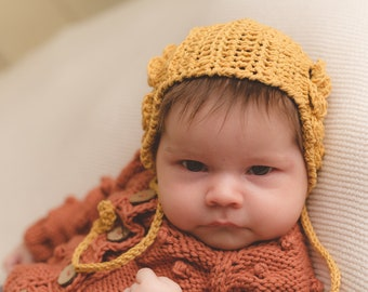 Knit Hat Baby Christening Baptism accessory Newborn Knitted Infant Photo Prop Gray All Sizes Pixie Beanie