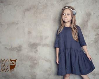 dfadac727f Girls Clothing Girls Linen dress Dark gray linen dress gray flower girls  dress Linen girls outfit