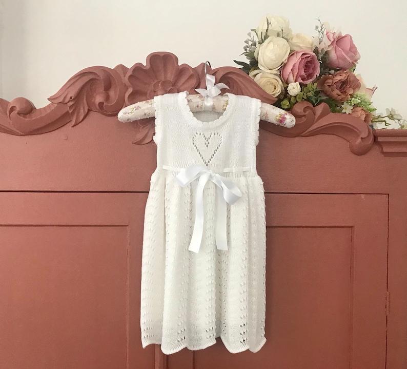 97729c706873 Baptism dress Knit Baby girl Bright white Dress Flower girls