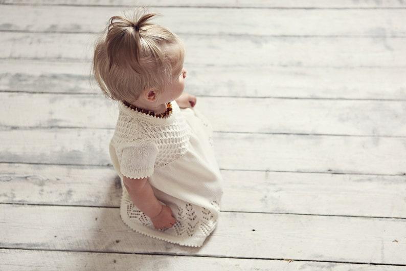 7d5c4a70bbdb Baptism dress Knit Baby girl White Dress Flower girls dress