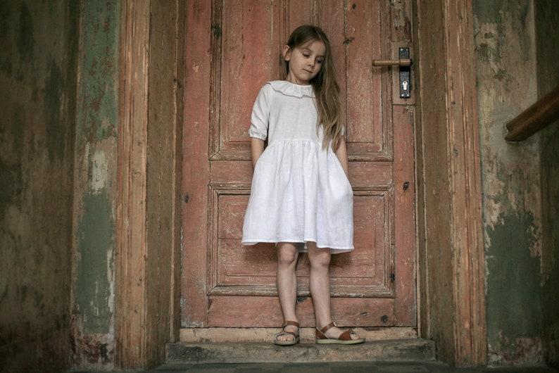4e47792ddbd81 Girls Clothing Girls Linen dress Snow white dress Flower girls | Etsy