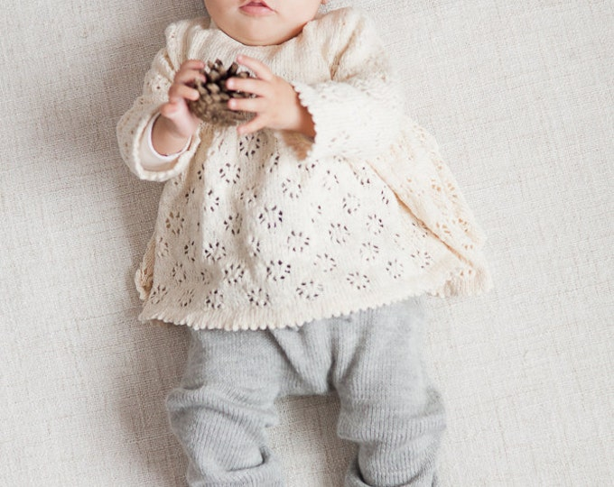 Baby girl clothes Baby girl lace sweater Tunic Baptism clothes Knit sweater  Baby Girls sweater