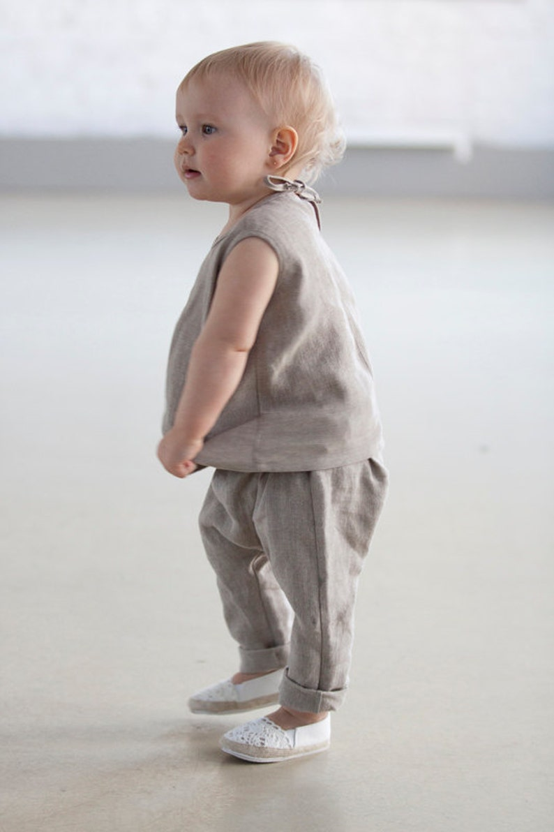 7aa6c822474 Baby clothes Baptism outfit Girls clothing natural gray linen