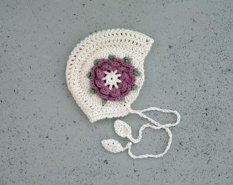 Handmade baby bonnet Vintage look crocheted girls hat Baby photo prop hat Baby bonnet Knit bonnet Toddler girls hat Girls hat Crochet hat