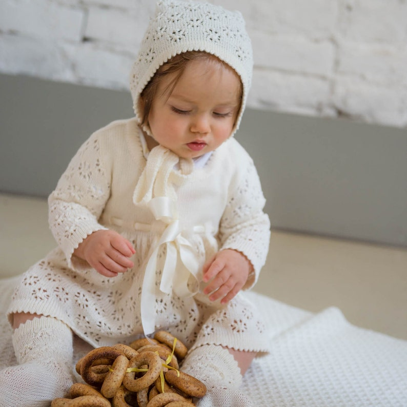 Baptism outfit Knit Baby girl Natural white Lace Dress Bonnet  2d57c3fddbe7
