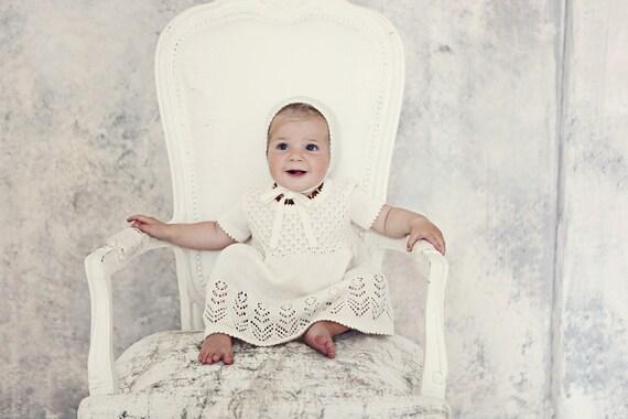 Baby Mädchen Taufe Outfit Vintage Look Stricken Baby Mädchen Elfenbein Weiß Kleid Blumenmädchen Erste Geburtstage Kleid Baby Kommen Nach Hause Outfit