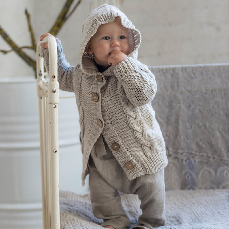 Knit hoodie Cable Knit Hoodie Jacket Beige sweater Coat Kids  6c9649d81