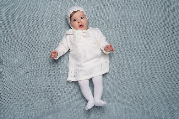 Baby Girl Baptism Outfit Knit Luxury Baby Girl Long White Dress And Bonnet With Lace Tassel Baby Girls First Birthdays Dress Snow White