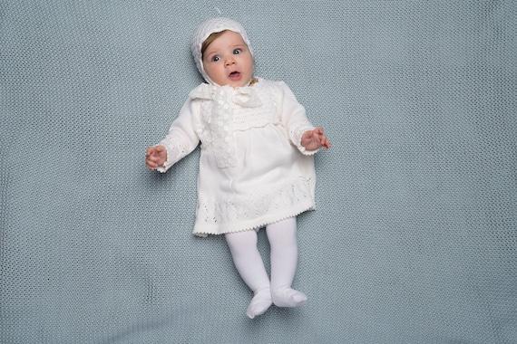 Baby Mädchen Taufe Outfit Knit Luxury Baby Mädchen Lange Weiße Kleid Und Bonnet Mit Spitze Tassel Baby Girls Erste Geburtstage Kleiden Schneeweiß