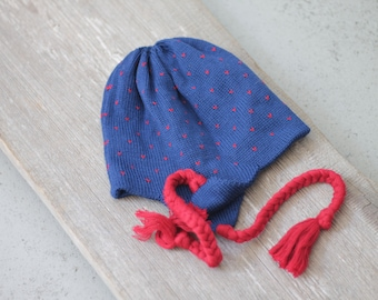 READY TO SHIP Knit Baby Hat Sizes 3-5years Blue with red Christening Baptism accessories Knitted Infant Photo Prop Cable knit hat