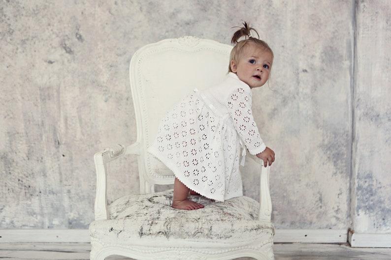 fff9a92e6cb7 Baptism dress Knit Baby girl Brigh white Dress Flower girls