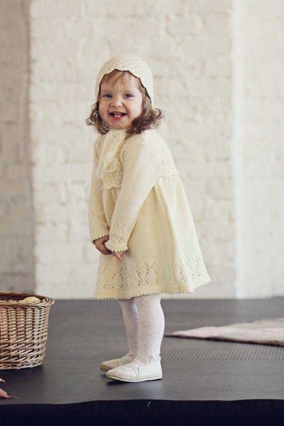 Baby Mädchen Taufe Outfit Knit Luxury Baby Mädchen Lange Weiße Kleid Und Bonnet Mit Spitze Tassel Baby Girls Erste Geburtstage Kleiden Sich Natürlich