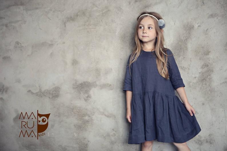 Meisjes Kinderkleding.Meisjes Kinderkleding Girls Linnen Jurk Donker Grijs Linnen Etsy