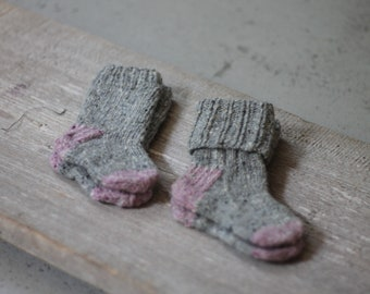 READY TO SHIP Hand knit socks Size 3-6m and 6-12m Soft Donegal tweed socks Baby shower gift Baptism accessory Legwear ribbed socks
