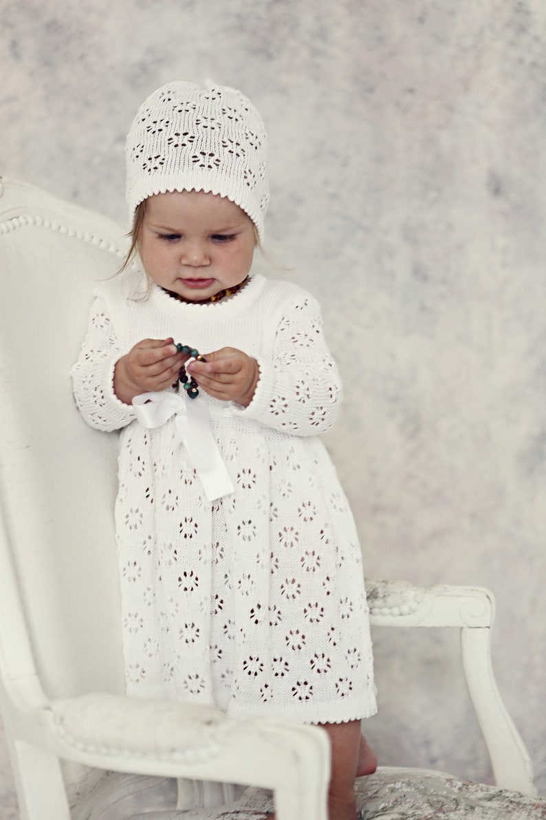 5067254e1 Baby girl Baptism outfit Vintage look Knit Baby girl Snow