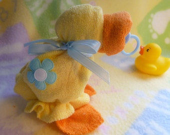 The ORIGINAL WASHCLOTH DUCK..Baby Quackers in Yellow ..Washcloth Animal...Duck Themed Baby Shower..Baby Washcloths..Just Ducky..Quack :)