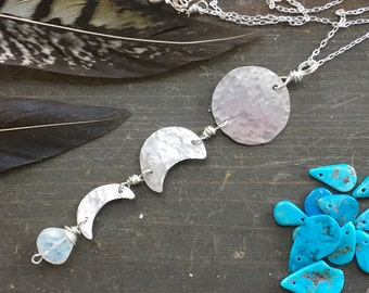 Moon phase pendant necklace, metal moon and moonstone pendant
