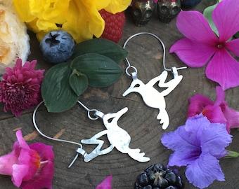 hummingbird earrings, MINI hummingbird hoop earrings, Colibri hoop earrings, bird jewelry