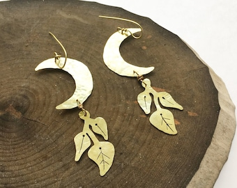 Moon earrings, Crescent moon and pothos plant earrings, lunar plant earrings