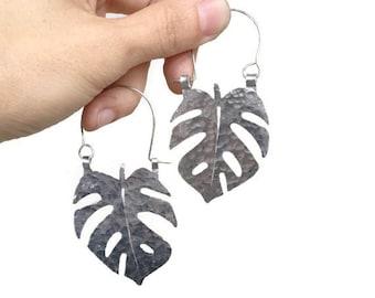 Monstera Leaf earrings, Monstera hoop earrings, tropical leaf earrings