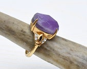 Amethyst Gemstoen Ring, Gold Statement Ring (RSA12)