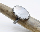 Mother of Pearl Adjustable Round Ring, White Oxidized Silver Ring, Statement Gemstone Ring (RGD24)