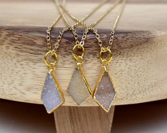 Diamond Drop Druzy Layering Necklace/ Druzy Quartz Necklace/ Quartz Druzy Summer Necklace/ Gemstone Bohemian Necklace (EP-NDX10)