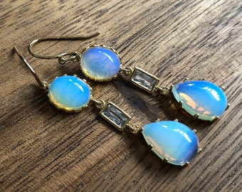 Opalite Glass CZ Crystal Gold Drop Dangle Earrings/ Gold Double Glass Connector/ White Blue Round Glass Bead Chandelier (EPJ-EBA12)