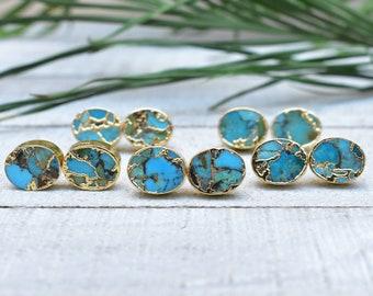375b8dfba Gold Plated Oval Gold Matrix Turquoise Stud Earrings (EPJ-ESBA10)