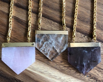 Carme/// Gold Pentagon Woven Chain Statement Necklace/ Natural Crystal Quartz Amethyst Gemstone Mineral Crystals Pentagon (DEJ-NAA11)