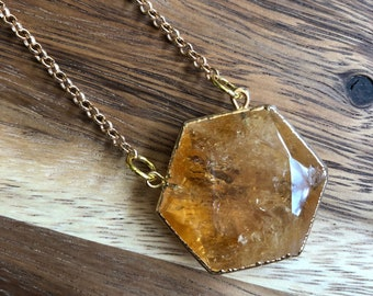 Astris/// Simple Small Citrine Hexagon Rolo Chain Statement Necklace/ Natural Yellow Orange Citrine Gemstone Mineral Stone (DEJ-SOV11-CT)
