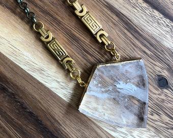 Roma/// Brass Gold Clear Quartz Shield Statement Necklace/ Natural Crystal Quartz Gemstone Mineral Gem Crystals Shield (DEJ-NCA10-CQ)