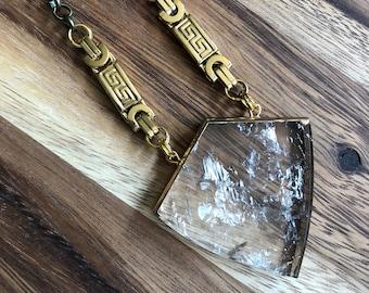 Roma/// Brass Gold Smoky Quartz Shield Statement Necklace/ Natural Smoky Quartz Gemstone Mineral Gem Crystals Shield (DEJ-NCA10-SQ)
