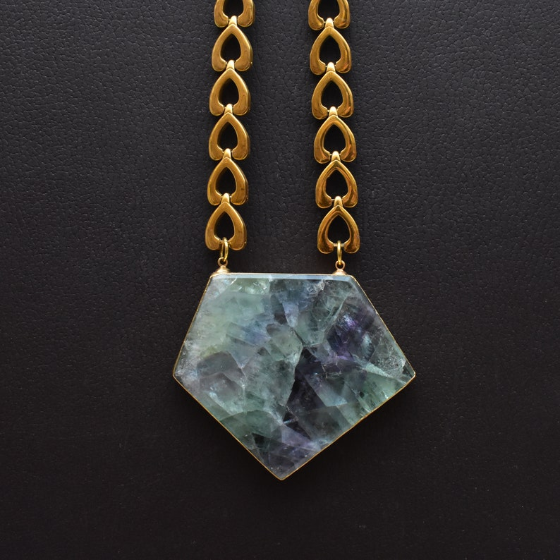 DEJ-N19NWD14 Eros Gold Plated Large Fluorite Stone Heart Chain Necklace