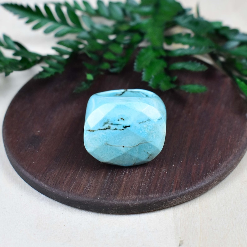 Faceted African Turquoise Large Stone Ring Gemstone Cabochon Stone Simple Carved Size 10 EPJ-RC20CAI14-5 S1000R