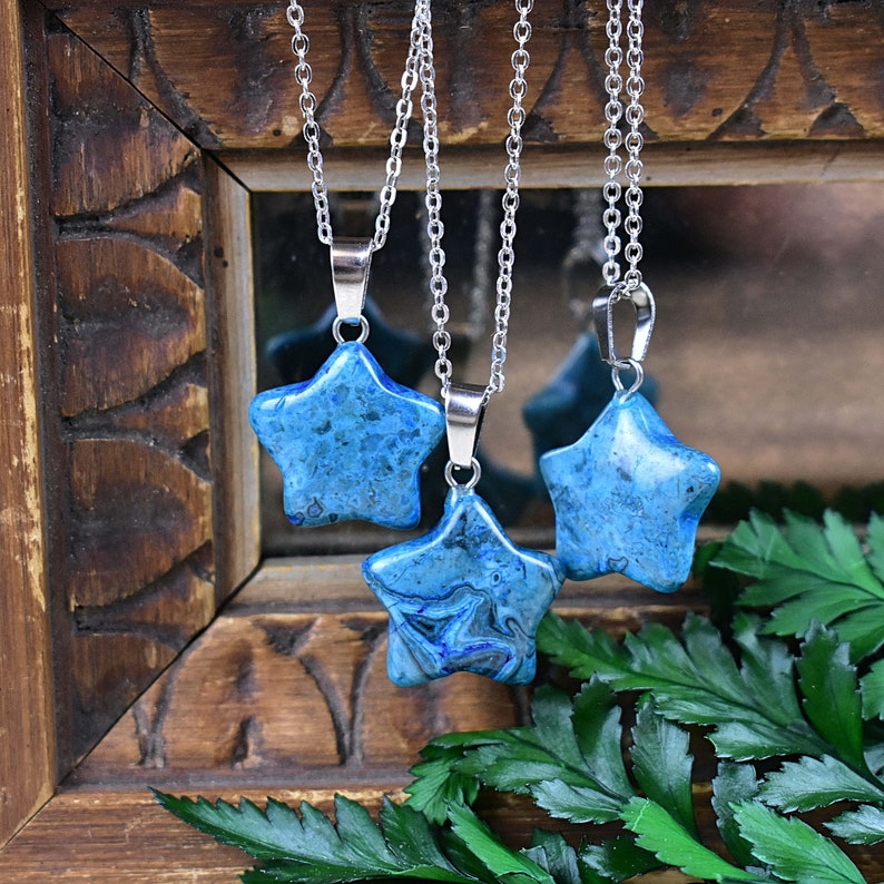 Layering Statement Necklace Blue Onyx Star Necklace Silver Gemstone Necklace EPJ-NW20AEA28